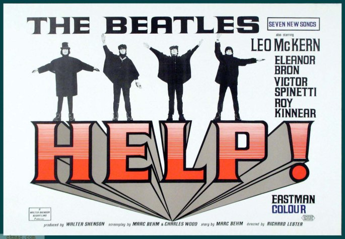 Actual-Beatles-movie-Help-1965-theater-lobby-placard.